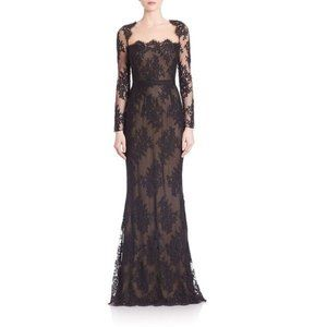 New Marchesa Notte lace illusion neckline gown